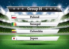 De groep H van het voetbalkampioenschap De toernooien van de voetbalwereld Trek Onderzoek royalty-vrije illustratie