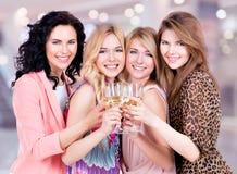 De groep jonge gelukkige vrouwen heeft een partij stock afbeelding