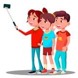 De groep Kinderen maakt een Selfie-Beeld op Mobiele Telefoonvector Geïsoleerdeo illustratie vector illustratie