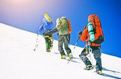 De groep klimmers bereikt de bovenkant van bergpiek Het beklimmen en royalty-vrije stock foto's