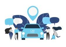 De groep mensen huurt een auto in de carsharingsdienst royalty-vrije stock afbeeldingen