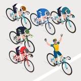De groep mensen` s fietsers die in wegfiets kreeg winnaarbi rennen vector illustratie