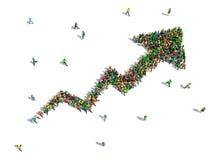 De groep mensen verzamelde zich samen in de vorm van het kweken van grafiek Stock Foto