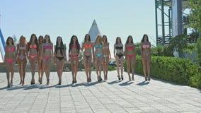 De groep mooie modellen in badpakken gaat in de rij langs het waterpark stock videobeelden