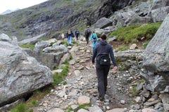De groep toeristen beklimt aan de berg Stock Foto's