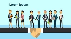 De Groep twee van Bedrijfsmensenteam leaders shaking hands over Zakenluiovereenkomst en Vennootschapconcept royalty-vrije illustratie