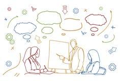 De Groep van bedrijfsmensenteam conference or training doodle de Vergadering van Zakenluisit at desk together brainstorming stock illustratie