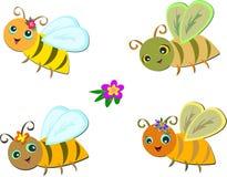 De Groep van de mengeling Leuke Bijen Royalty-vrije Stock Afbeeldingen