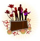 De groep van de muziek op abstracte achtergrond Royalty-vrije Stock Afbeelding
