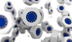 De groep van de notenlevitatie met vlag van de Europese Unie Stock Foto