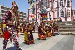 De Groep van de Tinkusdans in Carnaval in Arica, Chili Royalty-vrije Stock Fotografie