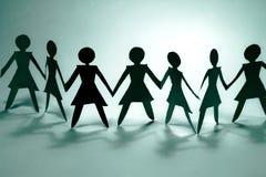 De groep van de vrouw op blauwe I Stock Foto