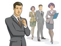 De groep van de zakenman status Stock Foto's
