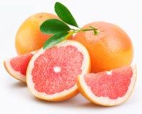 De groep van grapefruits met bladeren royalty-vrije stock fotografie