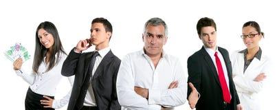 De groep van het bedrijfsmensenteam in een lijnrij isoleert Stock Afbeelding