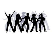 De groep van het silhouet mensen het dansen Stock Fotografie