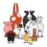 De groep van landbouwbedrijfdieren royalty-vrije illustratie