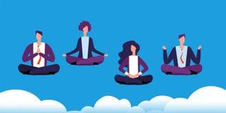 De groep van de meditatieyoga Het commerciële team die en in lotusbloem ontspannen mediteren stelt De beambten vermijden spanning vector illustratie