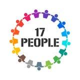 De groep van 17 Mensen verenigt zich Vector illustratie Royalty-vrije Stock Fotografie