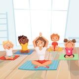 De groep van yogajonge geitjes Kinderen die oefeningen met instructeur op achtergrond van het gymnastiek de vectorbeeldverhaal ma royalty-vrije illustratie