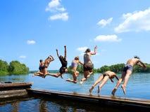 De groep van ?zeven samoeraien jonge geitjes Royalty-vrije Stock Foto's