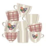 De groep vector lichte ceramische theekoppen met kooien en bloemen maakte omhoog bovenop een andere geïsoleerd op witte achtergro royalty-vrije illustratie