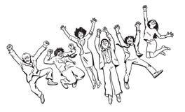 De groep vrienden heeft pret, springt rond, danst en voor de gek houdt Hand getrokken vectorillustratie in schetsstijl stock illustratie