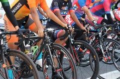 De groep vrouwelijke fietsers is bereid om op de beginnende lijn te zijn stock fotografie
