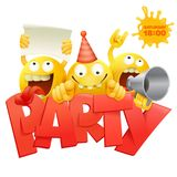 De groeps emoticon karakters van Smiley gele gezichten met de kaart van de Partijuitnodiging Stock Foto's