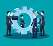 De groeps samen zaken van het zakenliedengroepswerk Vector Illustratie