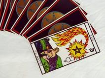 De Groepsmening van tarotkaarten en Witte achtergrond Royalty-vrije Stock Foto