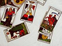 De Groepsmening van tarotkaarten en Witte achtergrond Royalty-vrije Stock Afbeeldingen