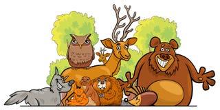 De groepsontwerp van beeldverhaal bosdieren Royalty-vrije Stock Afbeeldingen