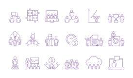De groepspictogram van het Coworkingsteam Het gecoördineerde werkende team die van het bedrijfsmensenbeheer samen het helpen van  stock illustratie