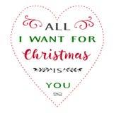 De groet van de Kerstmisliefde met tekst Stock Foto's