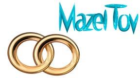 De groet van het kaarthuwelijk met twee gouden ringen stock illustratie