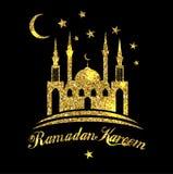 De groetachtergrond van Ramadan Kareem of van Eid Mubarak Islamitisch met gouden moskee op zwarte kleurenachtergrond vector illustratie