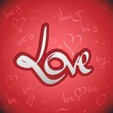 De groetenhand van de liefde het van letters voorzien reeks (vector) Stock Foto's