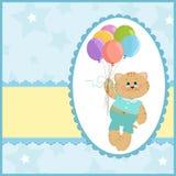 De groetenkaart van de baby met kat en ballons Stock Afbeeldingen