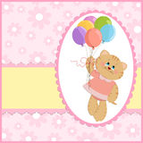 De groetenkaart van de baby met kat en ballons Stock Foto's