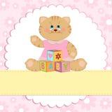 De groetenkaart van de baby met pot Stock Fotografie