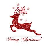 De groetenkaart van het Kerstmisrendier Stock Fotografie