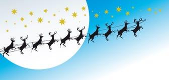 De groetenkaart van Kerstmis met rendieren Stock Afbeelding