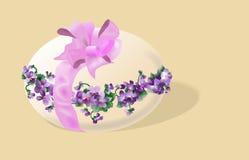 De groetenkaart van Pasen met ei en viooltjes Royalty-vrije Stock Afbeelding