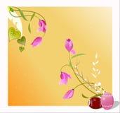 De groetenkaart van Pasen met eieren en bloemen, illust Stock Foto's