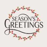 De Groetentypografie van het seizoen voor Kerstmis/Nieuwjaargroetkaart Stock Fotografie