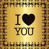 De groetkaart ` I houdt van u! ` Stock Afbeelding