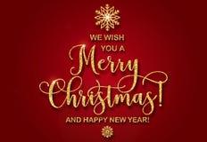 De groetkaart met gouden schittert tekst wij u Vrolijke Kerstmis en een Gelukkig Nieuwjaar wensen Stock Afbeelding