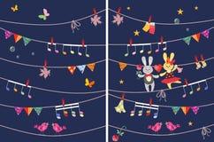 De groetkaart met leuke dansende konijntjes en vlinders, slinger, muzieknoten, vogels en esdoorn gaat weg De elementen van het on royalty-vrije illustratie