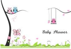 De groetkaart van de babydouche Babymeisje, Babyjongen Babyuil Owl Family Stock Foto